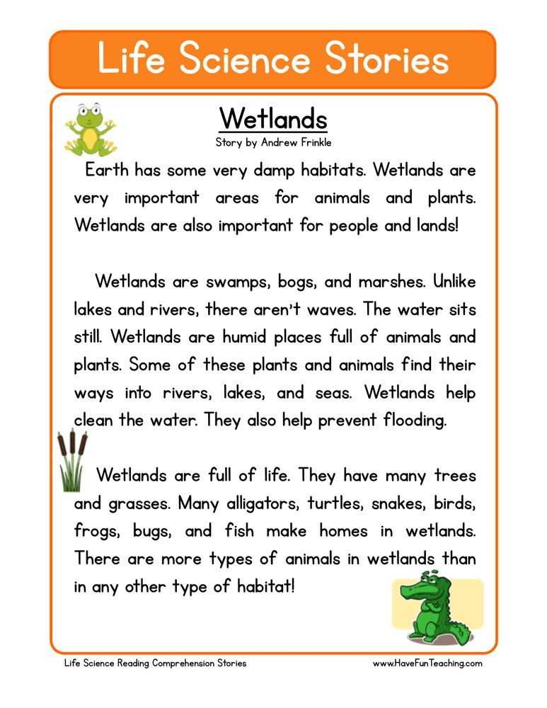 Second Grade Reading Comprehension Worksheets as Well as This Reading Prehension Worksheet Wetlands is for Teaching