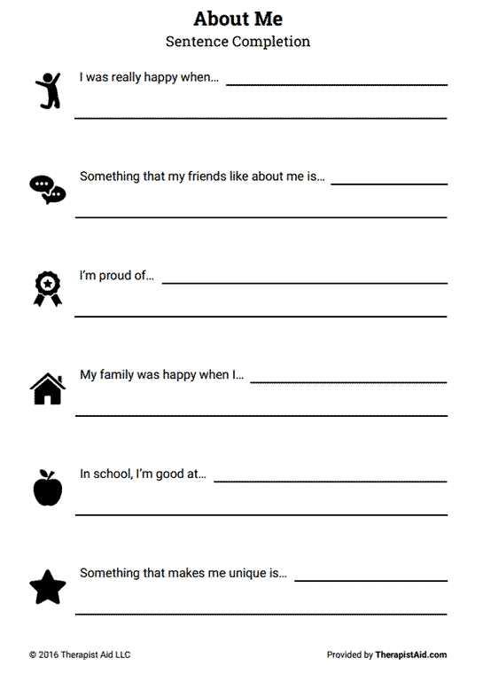 Self Esteem Worksheets for Teens as Well as About Me Self Esteem Sentence Pletion Preview …