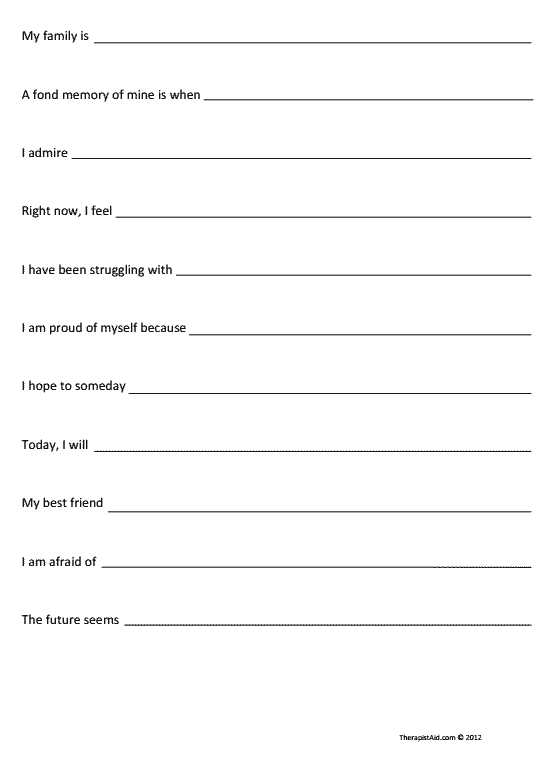 Self Esteem Worksheets for Teens with Self Exploration Sentence Pletion Preview