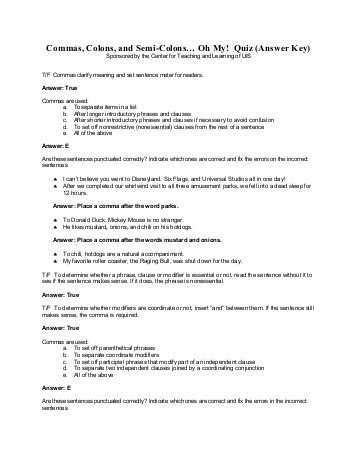 Semicolons and Colons Worksheet Answers or for Items In A Series W