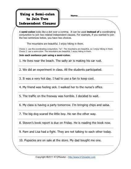 Semicolons and Colons Worksheet Answers with Semi Colons and Independent Clauses