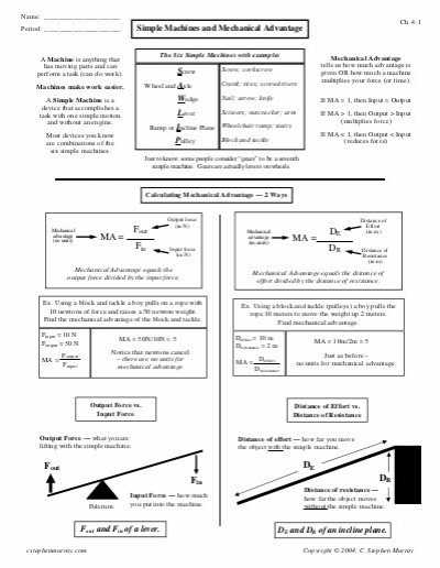 Simple Machines Worksheet Answers Along with Name