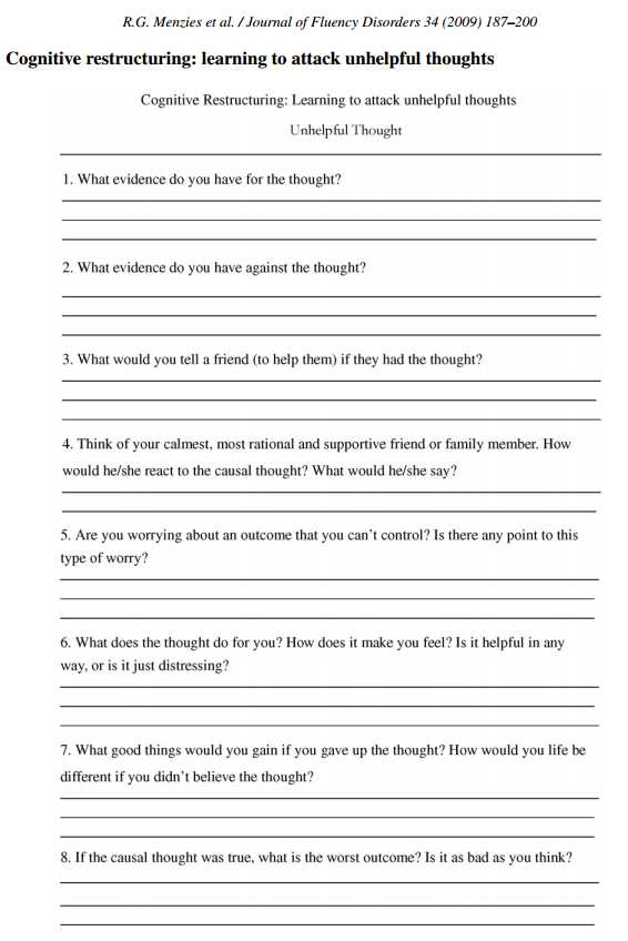 Smart Recovery Worksheets with Cbt Worksheet Redefiningbodyimage This Looks Like A Really
