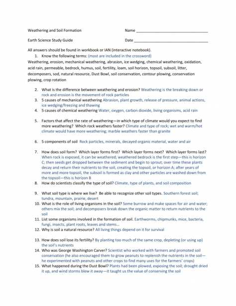 Soil formation Worksheet or New Weathering and soil formation Worksheet Answers Lovely Worksheet