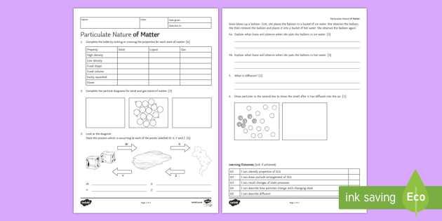 Solid Liquid Gas Worksheet Also Particulate Nature Of Matter Homework Worksheet Activity Sheet