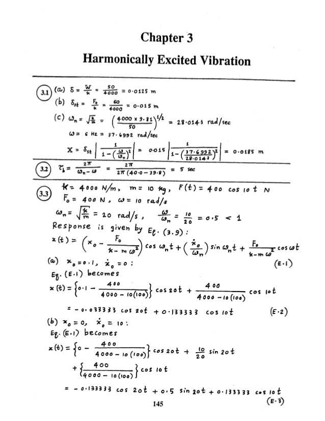 Solutions Worksheet Answers with Mechanical Vibrations by Ss Rao 4th Edition solution Manual Chapter 03