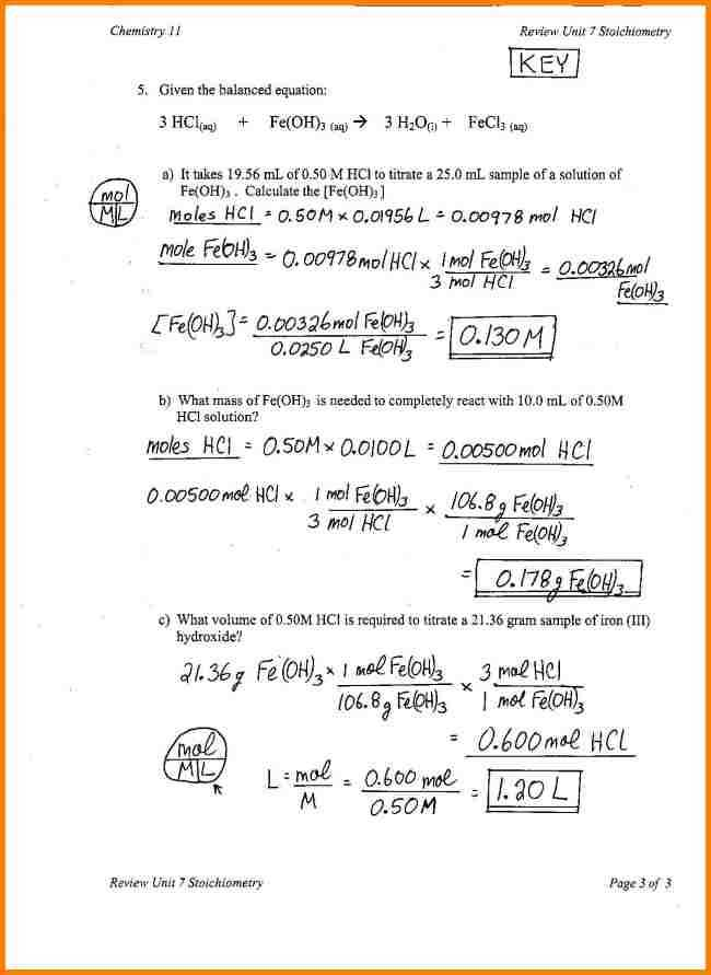 Solutions Worksheet Answers with Worksheets 49 Fresh Stoichiometry Worksheet High Definition