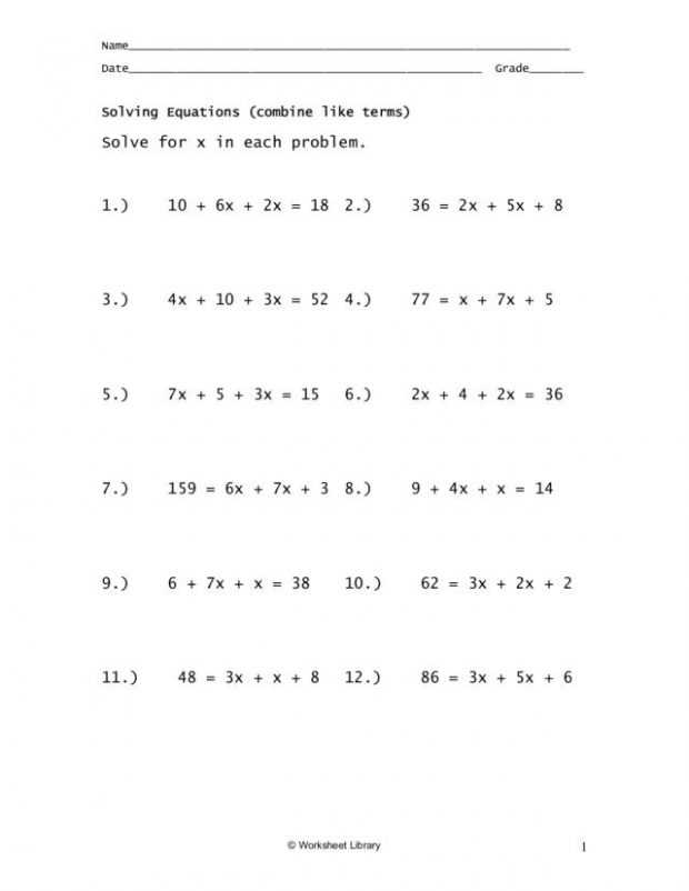 Solving Equations Worksheet Answers together with Beautiful solving Equations with Variables Both Sides Worksheet