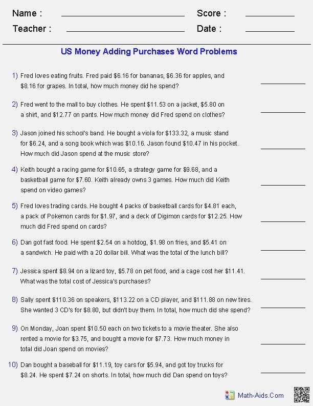 Solving Inequalities by Addition and Subtraction Worksheet Answers with Answer Math Questions for Money – Dailypoll