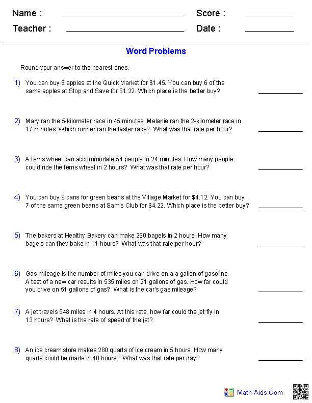 Solving Proportions Word Problems Worksheet with Ratios Amd Rate Word Problems Worksheets Math Aids
