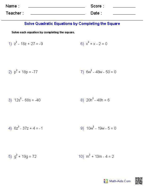 Solving Quadratic Equations by Completing the Square Worksheet Algebra 1 Also solving Quadratic Equations by Pleting the Square