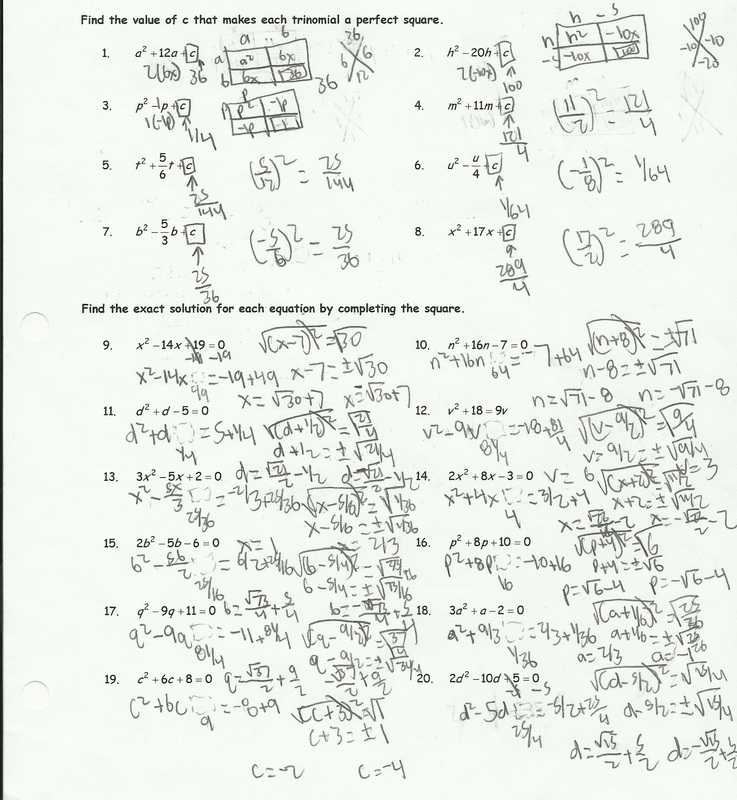 Solving Quadratic Equations by Completing the Square Worksheet Algebra 1 together with solving Quadratic Equations by Pleting the Square Worksheet