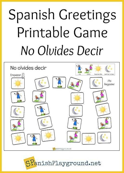 Spanish Greetings Worksheet or Spanish Greetings Game Printable Board