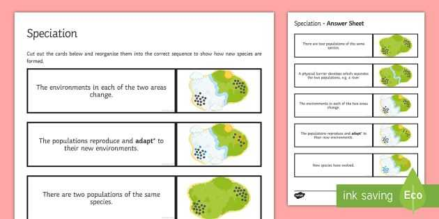 Speciation Worksheet Answers Along with Speciation Sequencing Cards Easy as 1 2 3