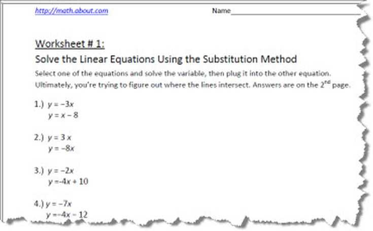 Systems Of Equations Substitution Worksheet Also Systems Of Equations by Substitution Worksheets