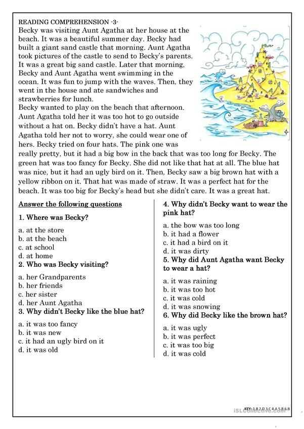 Teacher Made Worksheets Also Reading Prehension for Beginner and Elementary Students 3