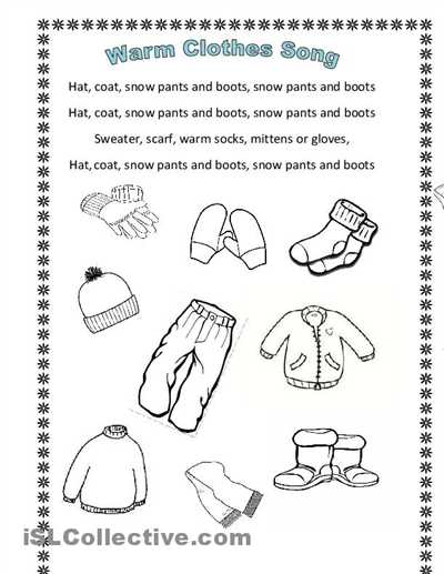 Teacher Made Worksheets as Well as Winter Clothes song En Hommage to Arianey S Version Worksheet