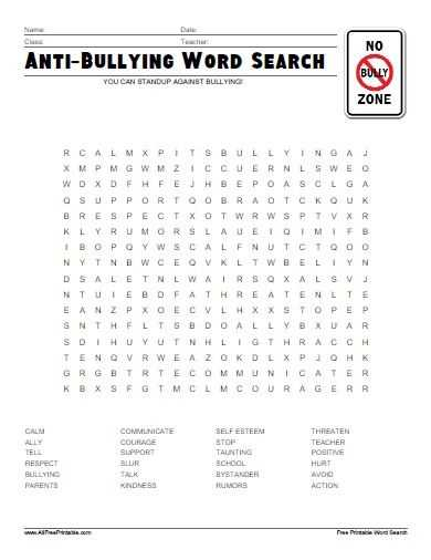 Tears Tears Everywhere Worksheet Answers Along with Free Printable Anti Bullying Word Search Stuff to Buy