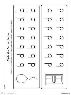 Th Worksheets Printable or B D Letter Reversal Match Beginning sound Worksheet