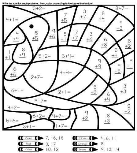 Thanksgiving Color by Number Addition Worksheets Along with Fun Easy Thanksgiving Coloring and Activities Pages for Kids