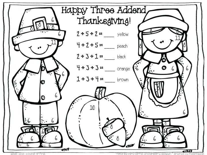 Thanksgiving Color by Number Addition Worksheets as Well as Thanksgiving Math Worksheets First Grade Worksheet Math for