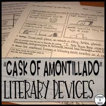 The Cask Of Amontillado Worksheet together with Literary Devices Worksheet Teaching Resources