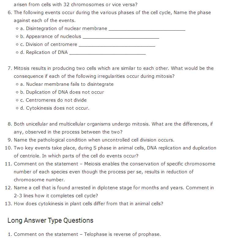 The Cell Cycle Coloring Worksheet Questions Answers Also Important Questions for Class 11 Biology Chapter 10 Cell Cycle and