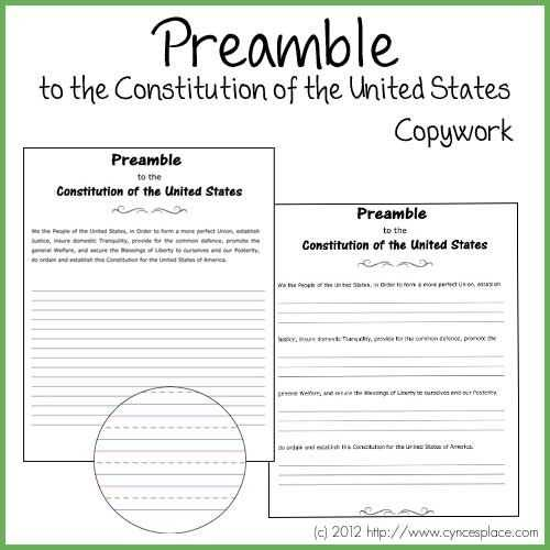 The Us Constitution Worksheet together with 53 Best Copywork Free Images On Pinterest