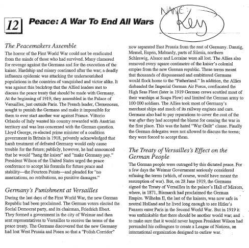 The War to End All Wars Worksheet Answers Key Also Period 1 social Stu S 10