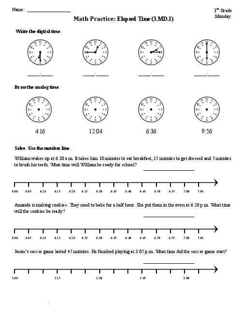 Time Worksheets Grade 3 as Well as Elapsed Time Worksheets