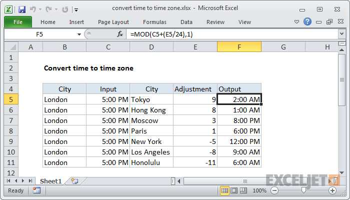 Time Zone Worksheet Along with How to Use the Excel Mod Function