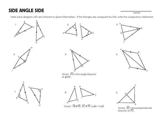 Triangle Congruence Practice Worksheet and Congruent Triangles Worksheet Grade 9 Kidz Activities