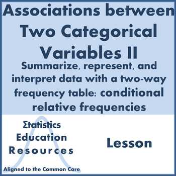 Two Way Tables and Relative Frequency Worksheet Answers Along with Two Way Tables Notes Teaching Resources