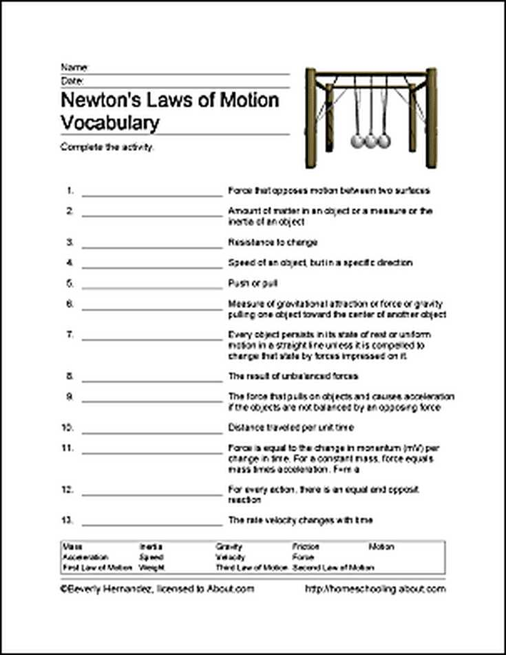 Velocity Acceleration Worksheets with Fun Ways to Learn About Newton S Laws Of Motion