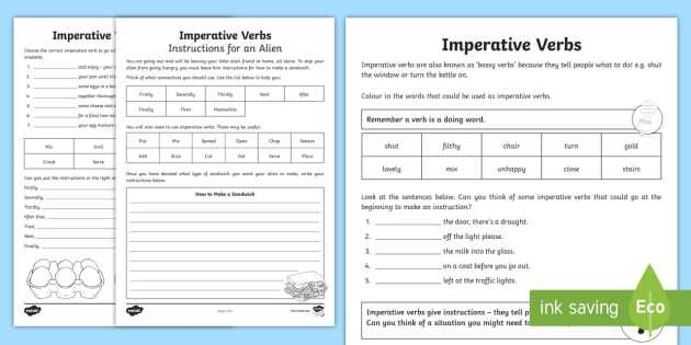Verbs Worksheet Pdf and Imperative Verbs Bossy Words Worksheet Imperative Verbs Bossy