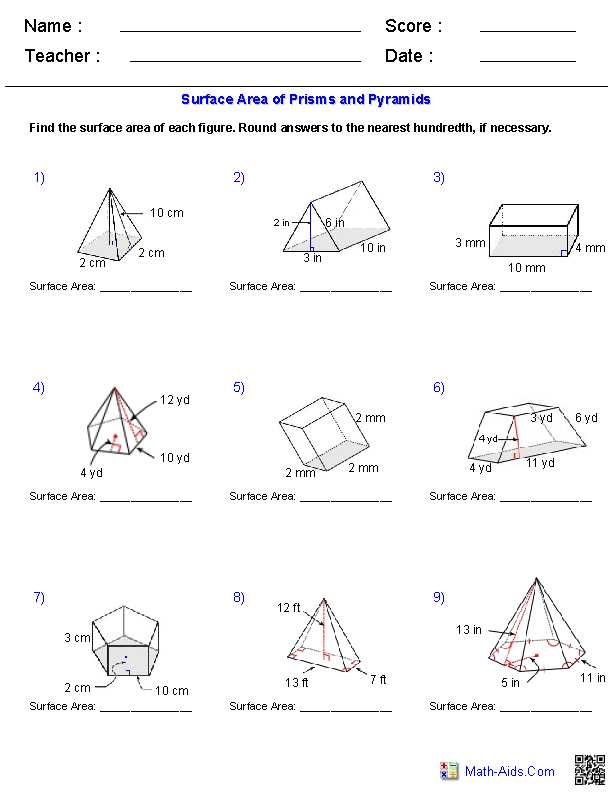 Volume Of Prisms Worksheet Along with Geometry Surface area and Volume Worksheet Answers Worksheets for