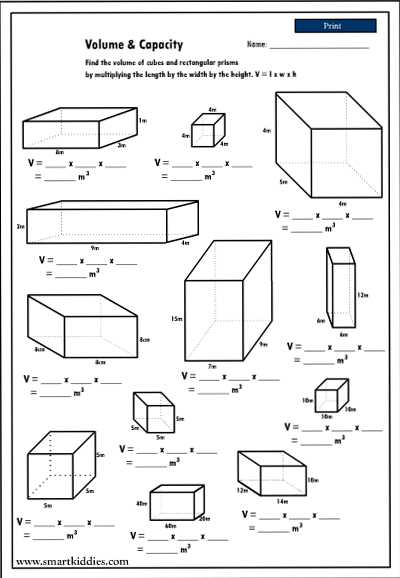 Volume Of Prisms Worksheet with Volume and Capacity Worksheets Worksheets for All