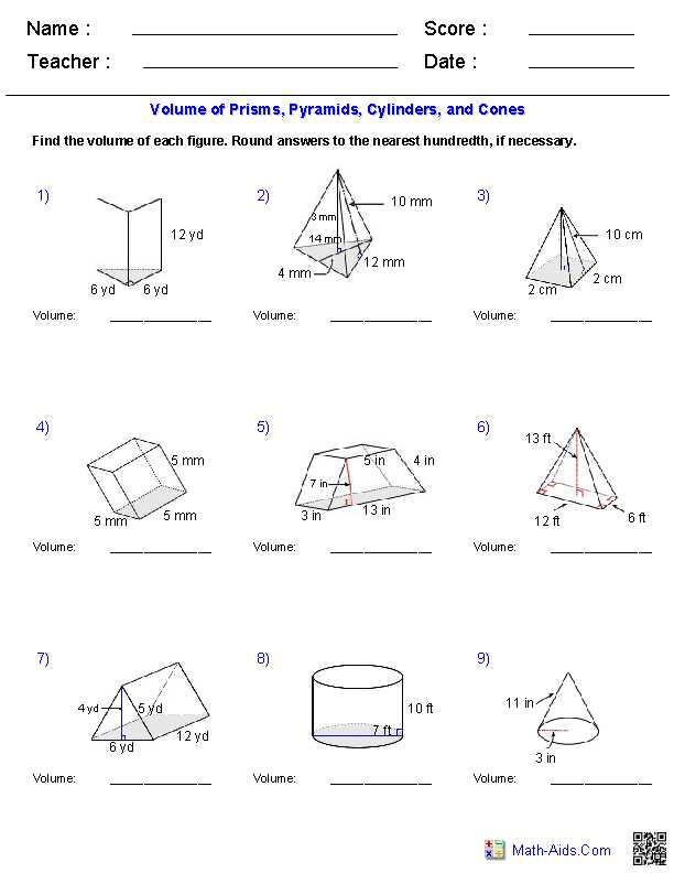 Volume Rectangular Prism Worksheet Answers together with Geometry Surface area and Volume Worksheet Answers Worksheets for