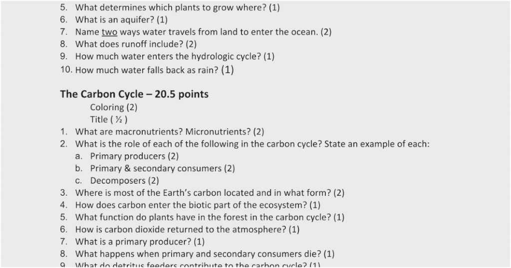 Water Carbon and Nitrogen Cycle Worksheet Color Sheet together with the Carbon Cycle Worksheet Answers Worksheet Math for Kids