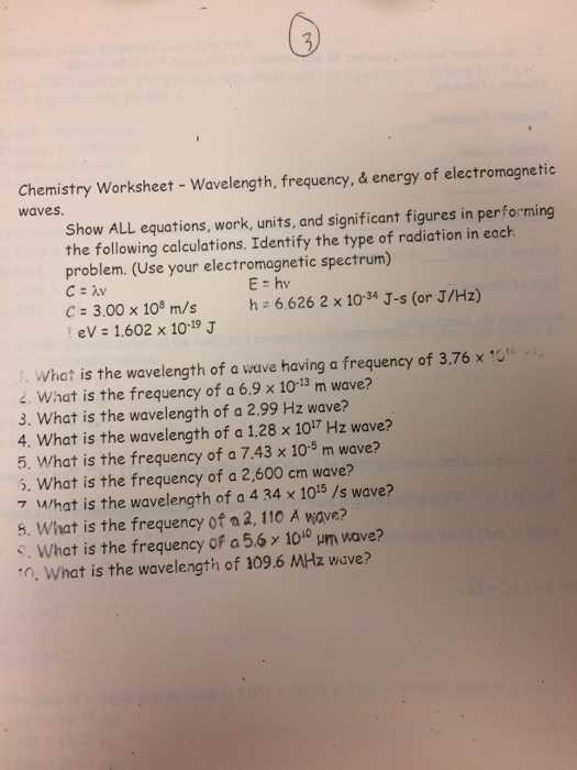 Wavelength Frequency and Energy Worksheet Along with Chemistry Archive April 25 2017