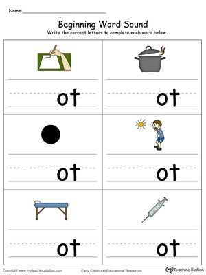 Words with the Same Vowel sound Worksheets or Beginning Word sound Ot Words In Color