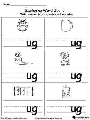 Words with the Same Vowel sound Worksheets together with Beginning Word sound Ug Words