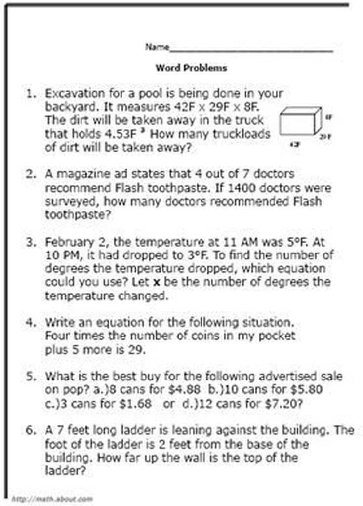 Writing Equations From Word Problems Worksheet or What are some Good Math World Problems for 8th Graders