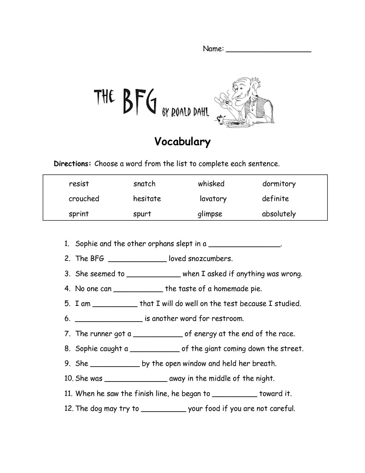4th Grade Reading Comprehension Worksheets Multiple Choice with the Bfg Worksheets the Bfg Vocabulary Worksheet