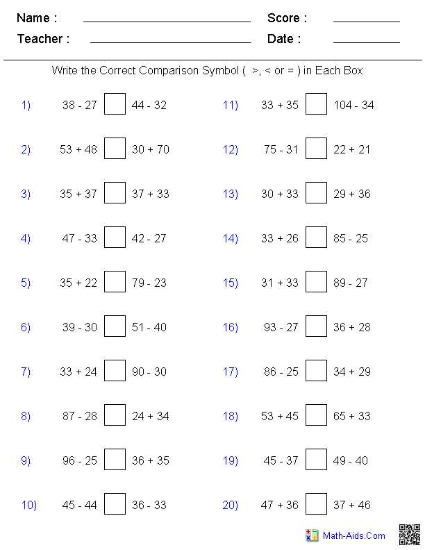 6th Grade Integers Worksheets Also Greater Than Less Than Worksheets Math Aids