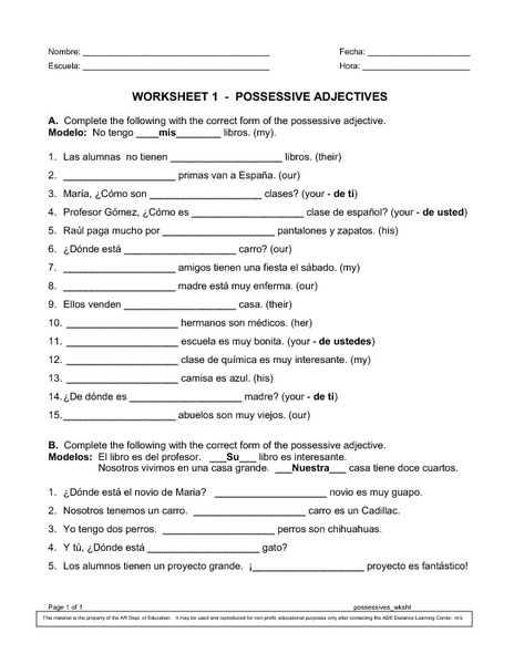 Agreement Of Adjectives Spanish Worksheet Answers Along with Worksheet Possessive Adjectives Spanish Kidz Activities