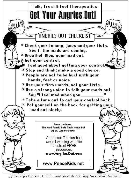 Anger Management Worksheets for Kids Pdf with Anger Management Coloring Pages