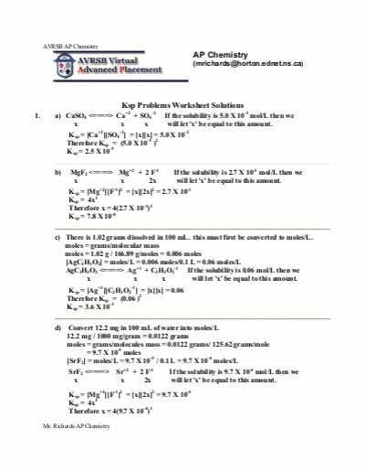 Ap Chem solutions Worksheet Answers with Ap Chemistry Ksp Problems Worksheet solutions