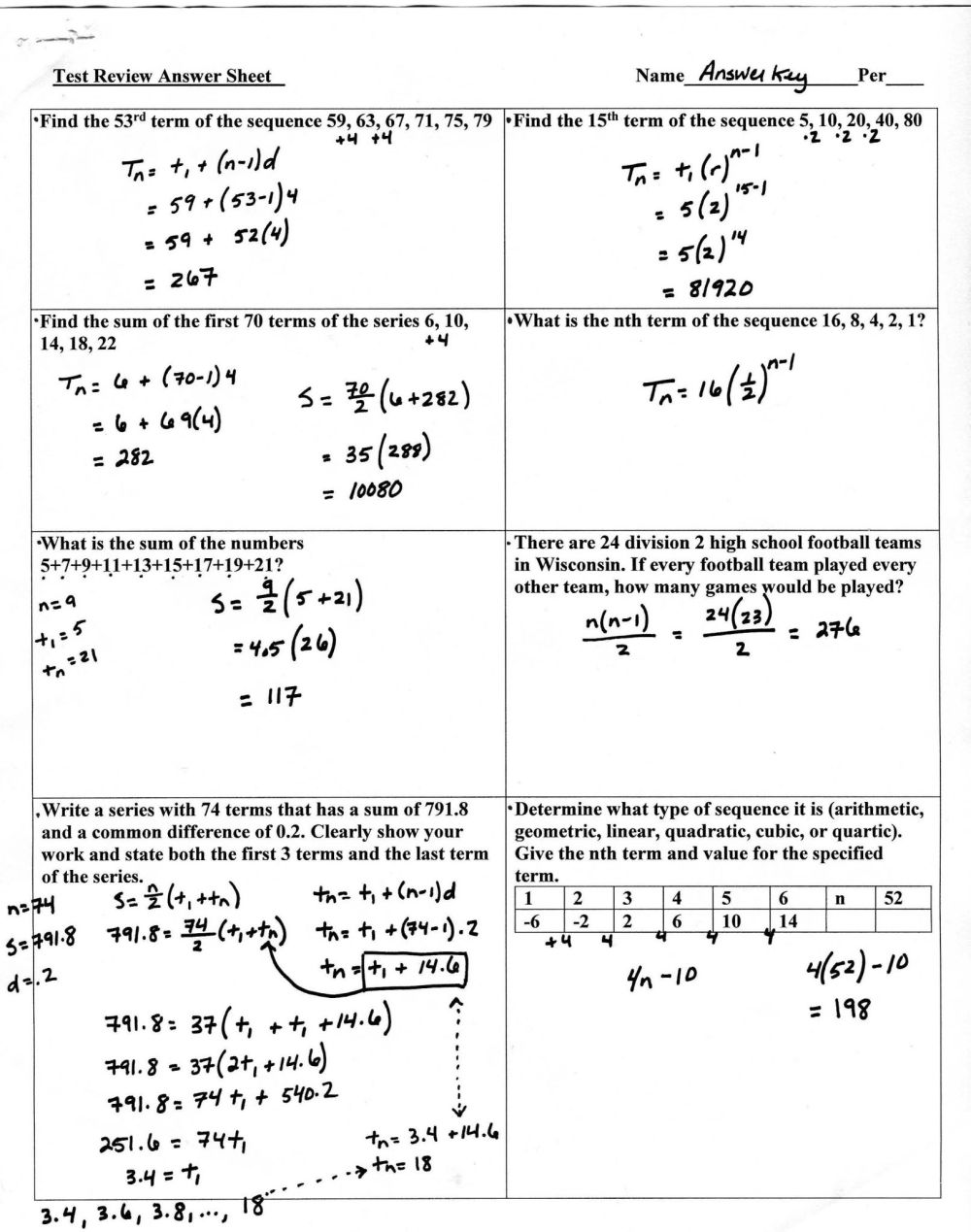 medium resolution of Arithmetic Sequences Worksheet Answers   Printable Worksheets and  Activities for Teachers