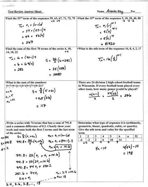 small resolution of Arithmetic Sequences Worksheet Answers   Printable Worksheets and  Activities for Teachers